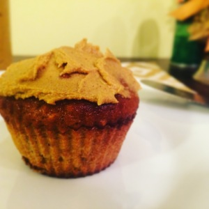 Dark Chocolate Chip Butternut Squash Muffin topped with Pumpkin Cashew Butter