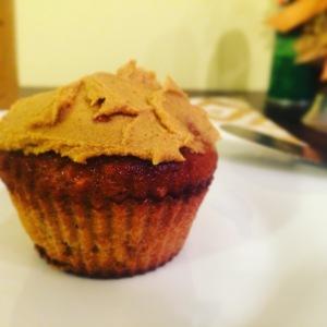 Dark Chocolate Chip Butternut Squash Muffin topped with Pumpkin Cashew Butter